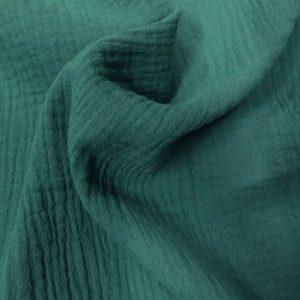matière doublegazecoton vert canard