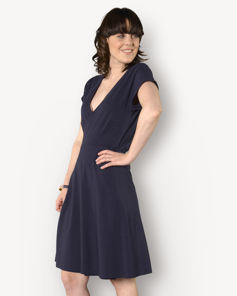La Jersey Femme Fier Robe Viscose Twistante Manches Unie Courtes oQrxBWCdeE
