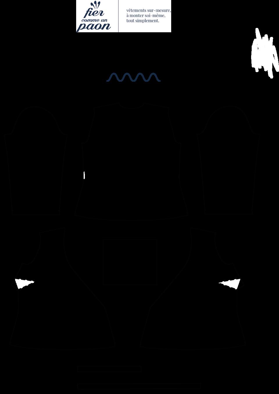 une image du patron de couture femme sur mesure de la robe portefeuille cache coeur avec des manches longues trois quart 3/4. Ce patron est simple à coudre pour les débutants en couture.