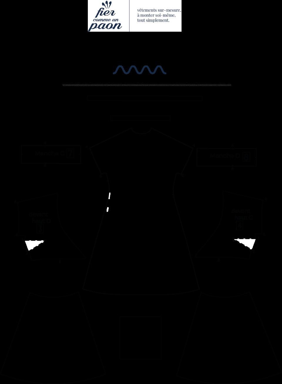 une image du patron de couture femme sur mesure de la robe portefeuille cache cœur avec des manches courtes. Ce patron est simple à coudre pour les débutants en couture.e sur mesure de la robe portefeuille cache coeur avec des manches longues trois quart. Ce patron est simple à coudre pour les débutants en couture.