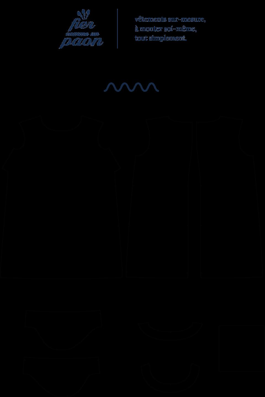 une image du patron de couture femme sur mesure du top ou haut été droite et fluide en col rond avec des manches longues. Ce patron est simple à coudre pour les débutants en couture. Il est idéal pour l'été.