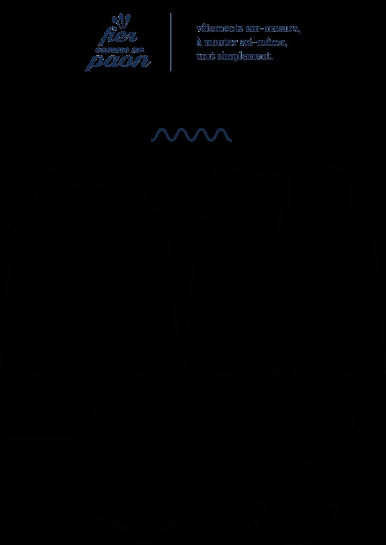 une image du patron de couture femme sur mesure du top ou haut été droite et fluide en col rond avec des manches longues/courtes. Ce patron est simple à coudre pour les débutants en couture.