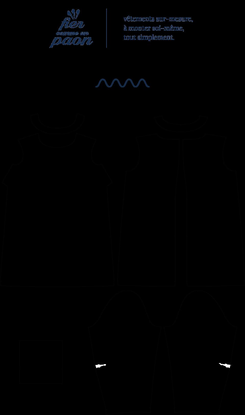 une image du patron de couture femme sur mesure du top ou haut été droite et fluide en col rond avec des manches courtes. Ce patron est simple à coudre pour les débutants en couture.