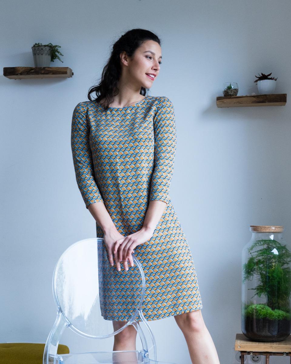 142f2f5047a robe femme la plaisante twill viscose manches longues fier comme un paon