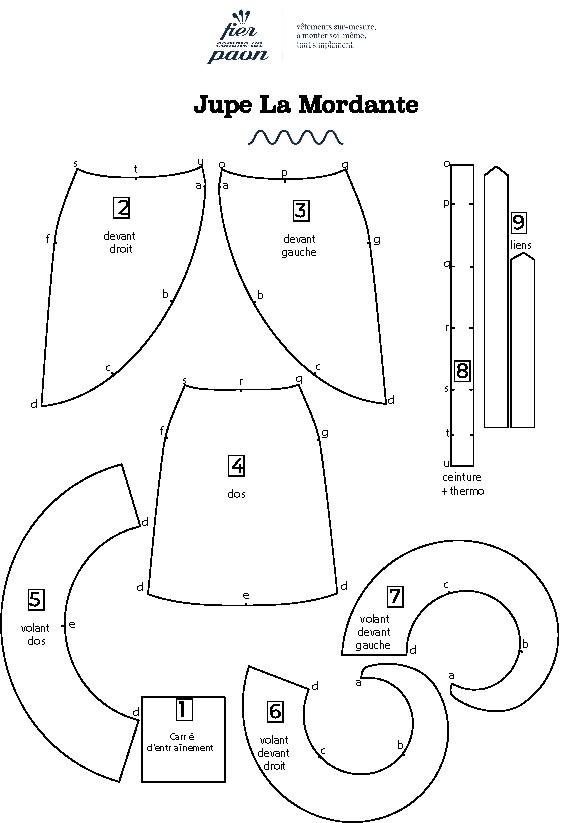 carte de montage jupe La Mordante
