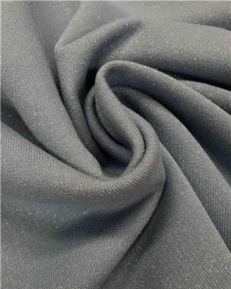 coton maille scintillant bleu nuage argent