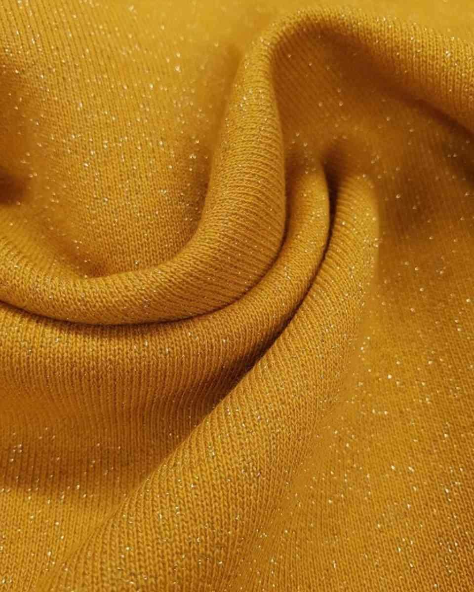 coton molletonné scintillant moutarde